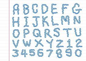 Handritad bokstavsteckensnitt skriven med en penna