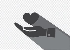 Piktogramhand och hjärta