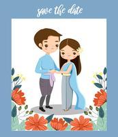 niedliche thailändische Paare im Trachtenkleid für Hochzeitseinladungskarte vektor