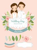 niedliche Braut und Bräutigam und Elemente für Hochzeitseinladungskarte