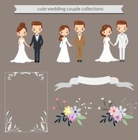 niedliche Braut und Bräutigam und Elemente für Hochzeitseinladungskartenschablone vektor