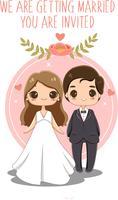 söt brud och brudgum för bröllopinbjudningar kort vektor