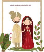 niedliche indische Braut und Bräutigam im Trachtenkleid für Hochzeitseinladungskarte vektor