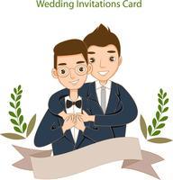 söta hbt-par för bröllopinbjudningskort vektor