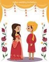 söta indiska bröllopspar i traditionell klänning vektor