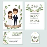 söt brud och brudgum på bröllopsinbjudningar kortmall