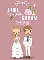 niedliche Braut und Bräutigam für Hochzeitseinladungskarte vektor