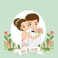 söta par för bröllopinbjudningar kort vektor