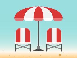 Liegestühle und Sonnenschirm am Strand vektor