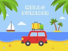 Hej sommar, bil med bagage på stranden vektor