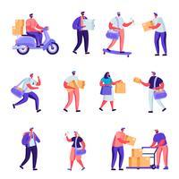 Uppsättning av platta tjänster för postleverans. Cartoon People levererar paket, vykort, post runt om i världen med land- och lufttransport. Vektorillustration.