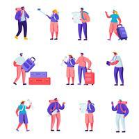 Uppsättning av platta turister som reser runt världen karaktärer. Tecknade folket kopplar ihop med bagageövervakningskarta, gör selfie, besöker och fotograferar. Vektorillustration.