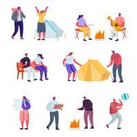 Satz des flachen aktiven Lebensstils außerhalb der Stadt in den Sommerlager-Charakteren. Karikatur-Leute-touristisches Wandern, Reitenhoverboard, Yoga draußen tuend und gehen mit Haustier. Vektor-Illustration.