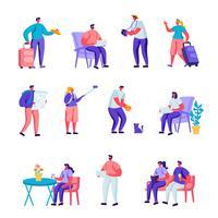 Satz flache verschiedene junge Leute mit Gepäck und Karten-reisenden Charakteren. Touristische Charaktere der Karikatur-Leute, die nachts, Unterkunft für Reisende bleiben. Vektor-Illustration. vektor