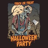 Zombie-Halloween-Party. Vektor bearbeitbare Ebene
