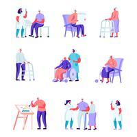 Uppsättning av platta äldre människor i ett vårdhem med medicinska hjälpkaraktärer. Tecknade människor som har hobbyvård av växter, måleri, spelar schack, stickning. Vektorillustration.