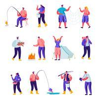 Satz flache Tätigkeiten im Freiencharaktere. Karikatur-Leute, die aktive Freizeit auf Natur, Holz hackend haben und fischen und sammeln Pilze im Wald und fotografieren. Vektor-Illustration.