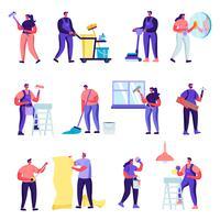Uppsättning av servicetecken för platt rengöringsföretag. Tecknade människor laddar smutsiga kläder till tvättmaskin, strykning, rullande vagn med rena klänningar i tvättstuga. Vektorillustration.