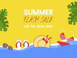 Summer Flash Sale, sommarelement på stranden vektor