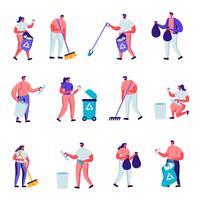 Uppsättning platt frivilliga samlar små karaktärer. Tecknade människor som krattar, sveper, sätter papperskorgen i påsar med återvinningsskylt, föroreningar med sopor, rensar upp avfall. Vektorillustration.
