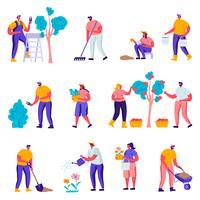 Satz flache Gärtner, die um Betriebscharaktere sich kümmern. Karikatur-Leute-Gartenarbeit-Leute, die Bäume im Garten oder im Gewächshaus wässern, pflanzen, harken. Vektor-Illustration.