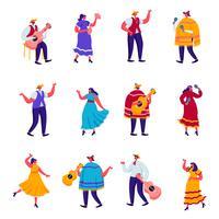 Uppsättning platt firande av en traditionell mexikansk semester i färgglada traditionella kläder karaktärer. Tecknad filmfestivalmusiker med gitarrer, maracor och dragspel. Vektorillustration.