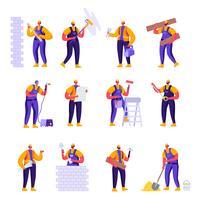 Uppsättning platt professionella byggnadsarbetare ingenjörer karaktärer. Tecknad filmhane i enhetliga overaller och hjälmar med utrustning. Vektorillustration.