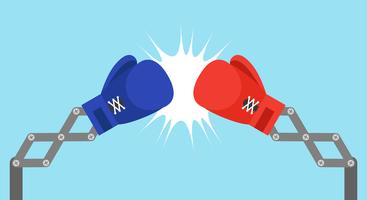 Blauer Spielzeugboxhandschuharm mit USA-Flagge und roter Spielzeugboxhandschuharm mit China-Flaggenvektorillustration vektor