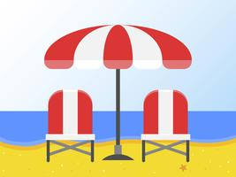 Liegestühle und Sonnenschirm am Strand