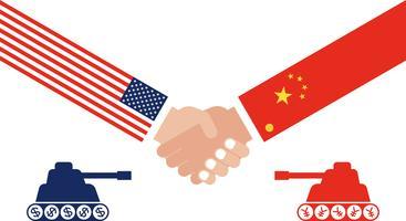 Behälter, der, Händeschütteln mit China-Flagge und Flagge Vereinigter Staaten sich gegenüberstellt vektor