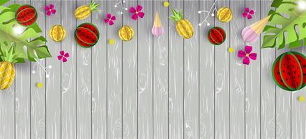 Vector sommarbakgrund med trätextur och tropiska frukter. Citron, vattenmelon, ananas och glasspappersnitt volym 3d. Används för webbplats, banner, kort