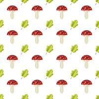 Buntes nahtloses Muster von Pilzen und von Blättern schnitt vom Papier heraus vektor