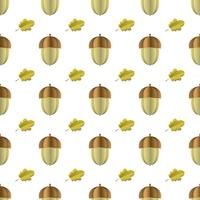 Färgglada sömlösa mönster av ekollon och blad klippta ur papper