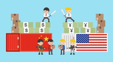 Handelskrieg über China- und USA-Vektorillustration