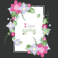 Vektor-Vignette von Frühlingsvektorblumen vektor