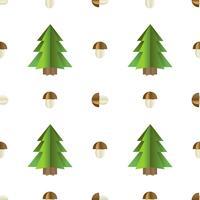 Buntes nahtloses Muster von Bäumen und von Pilzen schnitt vom Papier heraus vektor