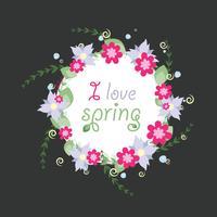 Kranz von den Frühlingsvektorblumen vektor