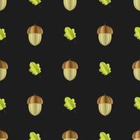 Färgglada sömlösa mönster av ekollon och blad klippta ur papper vektor