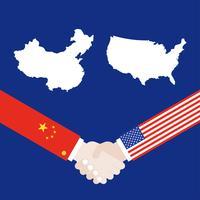 USA-karta och Kina-karta med skakande handvektor