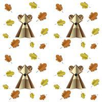 Färgglada sömlösa mönster av brunbjörn och blad klippta ur papper vektor