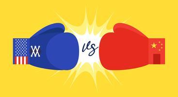 Blå och röd boxningshandskar med Förenta staterna och Kina flagga