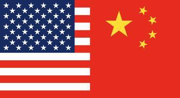 Flagge von China und Flagge der Vereinigten Staaten vektor