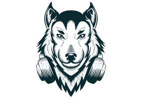 Wolf Kopfhörer Vektor-Illustration vektor