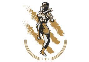 Muay Thai Kämpfer Vektor-Illustration vektor