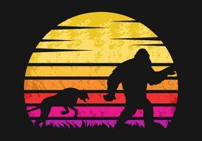 Yeti och cheetah solnedgång retro vektorillustration