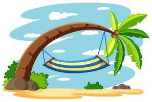 Hängmatta på kokosnötträdet vektor