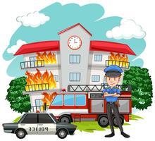 Polizist und Feuer im Gebäude vektor