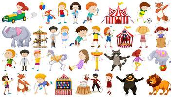 Set von Kindern und Jahrmarkt