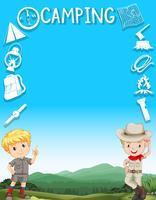 Gränsdesign med pojkar i campingdräkt vektor