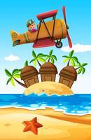 Mädchenflugzeug über der Insel